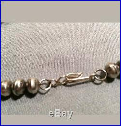 Vtg Hand Bench Made Bead Navajo Pearls Graduated Silver Ball Necklace 17 Inches