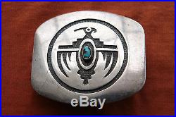 Vtg Native American Hand Made Sterling Silver Turquoise Thunderbird Belt Buckle