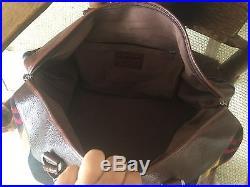 Vtg Pendleton Native American Wool Blanket Leather Duffle Bag Luggage USA Made