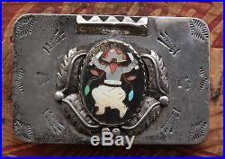 Vtg Sterling Silver Katchina Native American Hand Made Western Belt Buckle