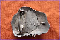 Vtg Sterling Silver Native American Hand Made Malachite Western Belt Buckle