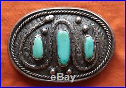 Vtg Sterling Silver Native American Made Turquoise Snake Design Belt Buckle