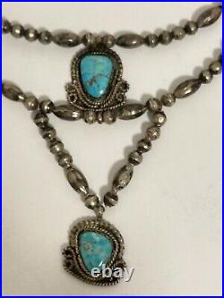 Vtg Sterling Silver Navajo Bench Made Bead & Turquoise Pendant Necklace-signed