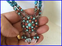 Wonderful Sterling Hand Made Native American Turquoise & Coral Necklace Must See