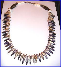 Wampum (Real) Quahog Necklace with Alpaca Silver Hand Made Native Made