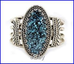 Well Made Navajo Artist H. BOYD Large Turquoise. 925 Silver Cuff