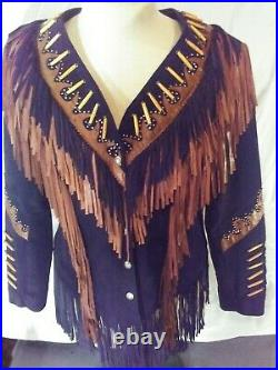 Women's Expressions Suede Fringed Leather Jacket Made In The U. S. A Motorcycle