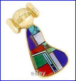 Women's Natural Gemstone Navajo Made Hopi Maiden 14k Solid Gold Pendant