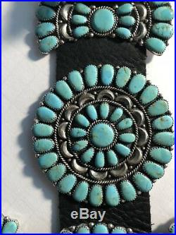 XL Navajo Custom Made Cluster Conchos Belt 22 Turquoise & Silver Conchos