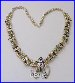 Zuni Madepitkin Natewasterling Silvermulti Inlayowl Squash Blossom Necklace