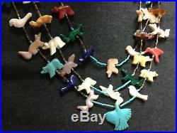 Zuni 44 Animal and soaring eagle Fetish Necklace 3 Strands Native American Made