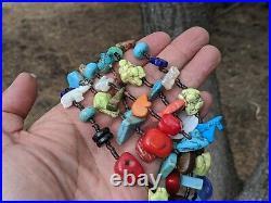 Zuni Animal Fetish Necklace Native American Hand Made Pueblo Jewelry 3 strands