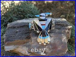 Zuni Cuff Bracelet Sterling Silver Rare Thunderbird Inlay Hand Made Jewelry